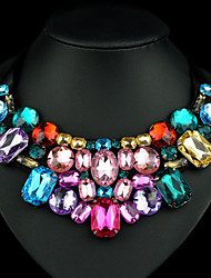 Women's Statement Necklaces Pearl Strands Pearl Necklace Crystal Pearl Rhinestone Simulated Diamond 18K gold Fashion Dark Pink Rainbow