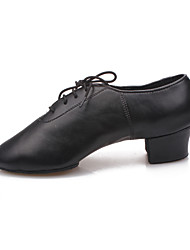 Non Customizable Men's/Kids' Dance Shoes Modern Leatherette Chunky Heel Black