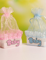 Baby lettering Basket Shaped Organza Wedding Candy Favor Bags Party Favor Gift Candy Bags Set of 12