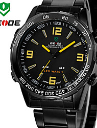 WEIDE Men Luxury Sports Analog & Digital LED Display Multi-functional Full Black Stainless Steel Wrist Watch