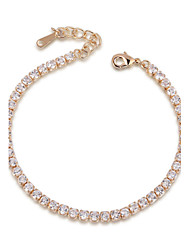 T&C Women's Crystal Wedding Jewelry 18K Rose Gold Palted Rhinestones Swiss Cubic Zirconia Chain Tennis Bracelet
