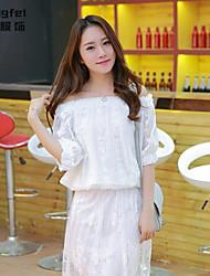 Women's Solid White Blouse , Bateau Short Sleeve Beaded