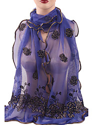 Women's Chiffon Floral Long Soft Scarf