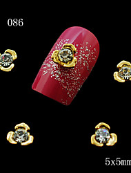 10 Pcs Golden Flower Shape Nail Alloy Jewelry Rhinestone Perfect for 3D Nail Art Decoration 5*5mm
