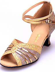 Women's Dance Shoes Sandals GlitterCuban Heel Gold/Silver