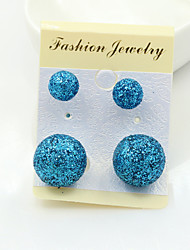 Stud Earrings Platinum Plated Gold Plated Alloy Fashion Yellow Pink Royal Blue Jewelry 1set