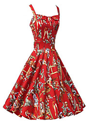 Women's Vintage Slim Print Sleeveless Swing Dress