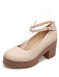 Chaussures Femme - Habillé - Bleu / Rose / Blanc / Beige - Gros Talon - Talons / A Plateau / Bout Arrondi - Talons - Similicuir