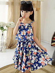 Girl's Cotton Vintage Sweet Floral Straped Beach Dress