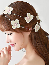 Japan and Korea Style Beige Floret Party Headpieces with Imitation Pearls