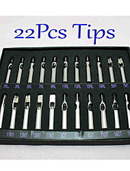 22Pcs/Set Tattoo Stainless Steel Nozzle Tips Set 22 Different Sizes Quality Tattoo Supply
