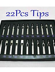 22pcs / set tatuaje puntas de las boquillas de acero inoxidable fijaron 22 tamaños de alimentación del tatuaje de calidad diferente