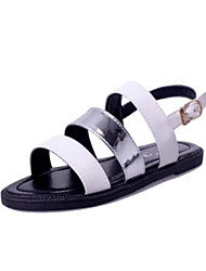 Women's Shoes Faux Leather Flat Heel Gladiator Sandals Casual Black/White