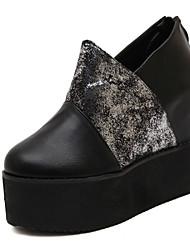 Calçados Femininos - Saltos - Saltos - Anabela - Preto - Couro Envernizado - Ar-Livre