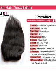 """8-20 """"peruanisches Seide Basis Schließung gerade Größe 4x4 natürlichen schwarzen freien Mittelteil 3 reines Menschenhaar silk"""