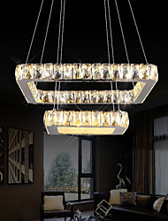 Crystal LED Pendant Lights Ceiling Chandeliers Lighting Hanging Lamps Fixtures with 2 Rings 20CM 40CM