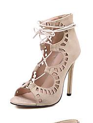 Damesschoenen - Sandalen ( PU , Zwart/Amandel )met Naaldhak - 10-12cm