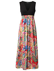 Women's Fashion Beach Casual Party V Neck Sleeveless Maxi Dress (Random Print)