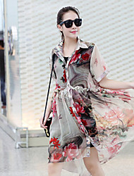 NUNEU Women's Cute Shirt Collar Long Sleeve Dresses (Chiffon)