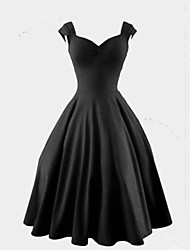 HHH Women's Vintage/Casual/Cute/Party V-Neck Sleeveless Dresses (Cotton Blend/Polyester)