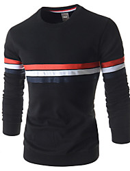 Katoen - Effen - Heren - T-shirt - Informeel/Formeel - Lange mouw
