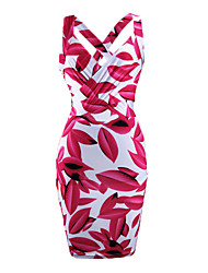 Women's Sexy Bodycon Casual / Work / Party / Holiday / Club Halter Floral Slimming Dress