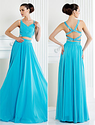 Homecoming Formal Evening Dress - Pool A-line Straps Floor-length Chiffon