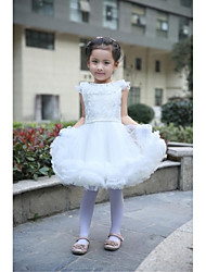 Ball Gown Knee-length Flower Girl Dress - Satin / Tulle Short Sleeve Jewel with
