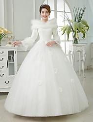 Ball Gown Wedding Dress-Floor-length Jewel Cotton / Organza / Satin