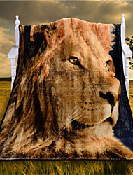 3D Lion Plaids for Soft Blanket Vivid Cool Gift Animal Blankets Close to Nature Raschel Plaids and BedSpreads for Bed