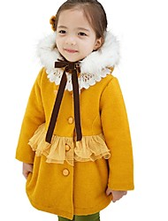 Girls Winter Thicken Hooded Woolen Single-breasted Lace Coat Dress (Cotton Blend/Tweed)