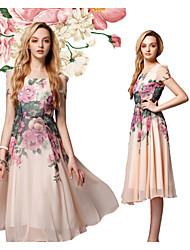 Robes ( Polyester ) Informel/Soirée Rond à Manches courtes pour Femme
