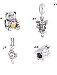 euner® новый стерлингового серебра 925 пробы прелести позолоченные очарование ангел прелести Pendents совместимые с европейскими браслеты