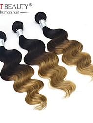 3pcs / lot 12-26inch obearbetat peruanska hår väva 3tones ombre hår kropps våg peruanska virgin hår buntar