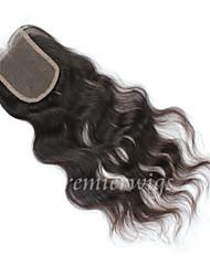 nouveau 10 '' - 18 '' vague brésilienne de cheveux naturelle vierge noeuds blanchis suisse fermetures de dentelle libre / moyen / trois