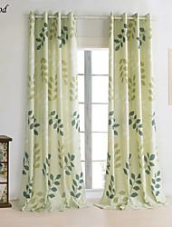 (Un panel) país imprimir lino natural vida hojas verdes cortina de oscurecimiento habitación