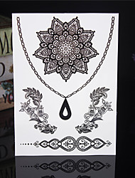 4PCS Tatouage Black Temporary Tattoo Sticker Taty Body Tatoo Metal Tatoos Fake Tattoo Tatto Lace Wedding Tattoos