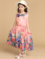 Girl's Cotton/Polyester Bohemia Sweet Floral Sleeveless Beach Long Dress