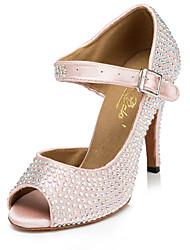 Chaussures de danse(Rose) -Non Personnalisables-Talon Aiguille-Flocage-Salsa