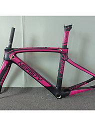 RB-NT215 3k Matte Rose Red Neasty Logo High Qulity 700C Full Carbon Fiber Frame and Fork Road bicycle frameset
