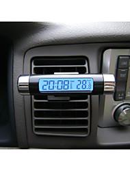 lcd mode de voiture numérique rétro-éclairage bleu automobile calendrier thermomètre d'horloge avec clip Vente en gros