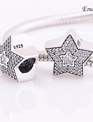 Euner® Silver Wishing Star Pave Charm Wholesale Solid Silver Charms Loose Beads Silver Beads European Charms