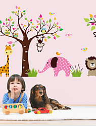 Wall Stickers Wall Decals Style Monkey Elephant Forest Animal PVC Wall Stickers