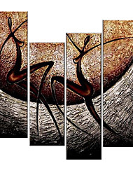 VISUAL STAR®Abstract Portrait Oil Painting Hand-Painted Canvas Wall Art Handmade Oil Painting Four Panels Ready to Hang