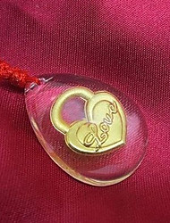 Heart Shaped Crystal Gold Pendant