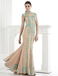 ts Couture® robe de soirée formelle, plus la taille / petite trompette / sirène haute cou balayage / pinceau train tulle avec appliques