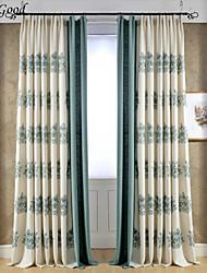 (Un panneau) doubles plissés vert foncé heureux fleur de coton et de lin mélangés tissu de broderie rideaux de rideaux