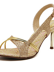 Women's Shoes Sparkling Glitter Heels with Slingback Stiletto Gold Sandals