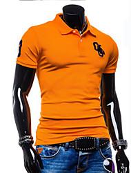 T-Shirts ( Coton/Lycra/Polyester ) Informel/Soirée/Travail Rond à Manches courtes pour Homme