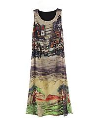 Dominic Women's Print Multi-color Dresses , Casual / Print Plus Size Round Sleeveless